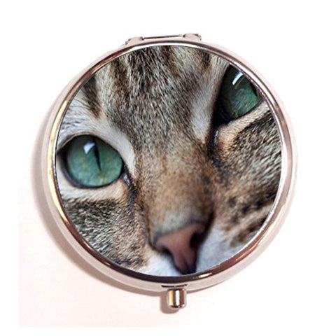 Cat's Green Eyes design custom Unique Tone Round Pill Box Medicine Tablet Organizer or Coin Purse