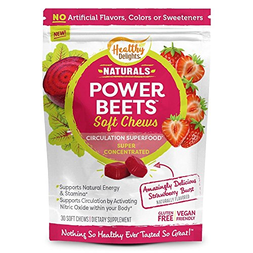 Healthy Delights Naturals - Power Beets Soft Chews - Super Concentrated - Circulation Superfood - Supports Natural Energy & Stamina - Delicious Strawberry Burst Flavor - 30 Count