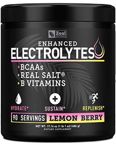 Electrolyte Powder Recovery Drink (90 Servings | Lemon Berry) w Real Salt +BCAAs +B-Vitamins Sugar Free Electrolyte Supplement w Potassium Zinc & Magnesium for Hydration - Keto Electrolytes