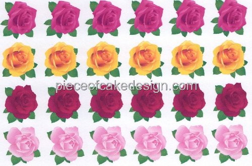 1/4 Sheet ~ Rose Pattern Background Birthday ~ Edible Cake/Cupcake Topper - D3094