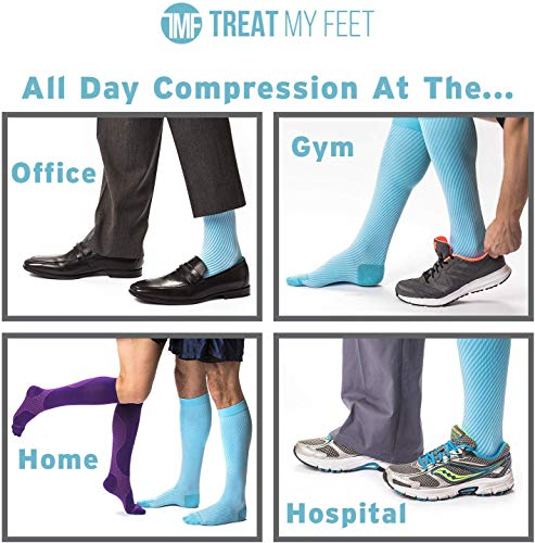 Knee High Compression Socks for Women & Men, 15-20 mmHg - Edema Pain Relief - Nurse, Travel, Pregnancy & Running Comfort - Lightweight Graduated Nursing Sock - Knee High Stockings, Blue S