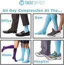 Image of Knee High Compression Socks for Women & Men, 15-20 mmHg - Edema Pain Relief - Nurse, Travel, Pregnancy & Running Comfort - Lightweight Graduated Nursing Sock - Knee High Stockings, Blue S