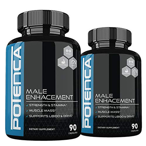 (2 Pack) Potenca Male Strength Support Formula, Potenza Pills - 180 Caps Oversized Budget Pack - 2 Month Supply