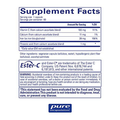 Pure Encapsulations OptiFerin-C | Iron Supplement to Support Healthy Skin, Iron Absorption, and Overall Immune System Health* | 60 Capsules