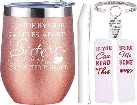 Sisters Friends,Gifts for Sisters from Sisters,Best Friends Gifts for Women,Sister Gifts,Friendship Gifts for Women,Sisters Tumbler,Sisters Gifts from Sister,Side by Side or Miles Apart Sisters