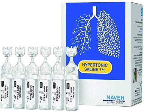 RSV Hypertonic Saline Solution 7% - Nebulizer diluent for inhalators and nasal hygiene devices Helps Clear Congestion from Airways and Lungs  Reduce Mucus (25 Sterile Saline Bullets of 5ml)