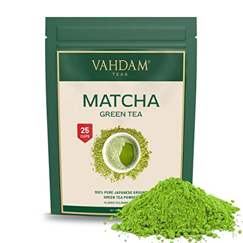 VAHDAM, Matcha Green Tea Powder SUPERFOOD (25 Servings) 100% Pure Authentic Japanese Matcha Powder | Classic Culinary Grade Green Tea Matcha 137x Anti-OXIDANTS | Matcha Latte Mix & Smoothies