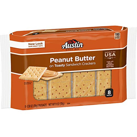 Austin, Toasty Round Crackers With Peanut Butter, 8 Count, 11.4oz Tray (Pack of 4)