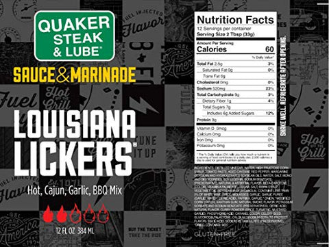 Quaker Steak and Lube Louisiana Lickers Wing Sauce - 12 Ounce Glass Bottle of Quaker Steak & Lube Louisiana Lickers Chicken Wing Sauce