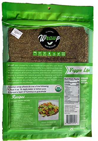 Raw Organic Veggie Life Veggie Wraps | Wheat-Free, Gluten Free, Paleo Wraps, Non-GMO, Vegan Friendly Made in the USA (2 Pack)