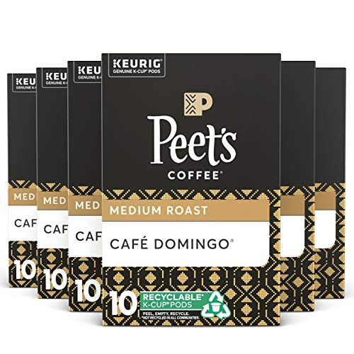 Peets Coffee Caf Domingo K-Cup Coffee Pods for Keurig Brewers, Medium Roast, 60 Pods