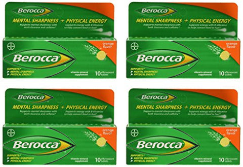 Berocca Orange Effervescent Tablets 10-Count (Pack of 4)