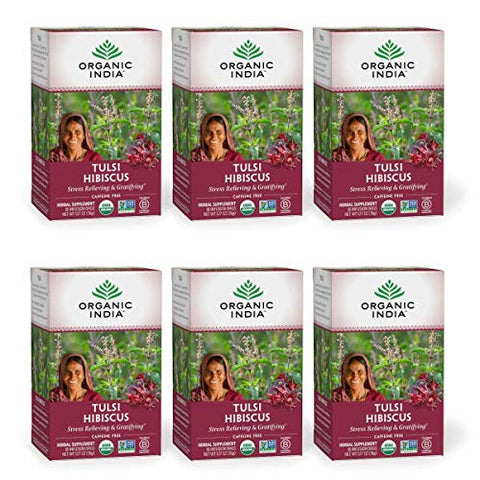Organic India Tulsi Hibiscus Herbal Tea - Stress Relieving & Gratifying, Immune Support, Adaptogen, Vegan, USDA Certified Organic, Non-GMO, Calming, Caffeine-Free - 18 Infusion Bags, 6 Pack