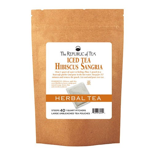The Republic of Tea Hibiscus Sangria Iced Tea, 40 Large Iced Tea Pouches / 40 Quarts, Caffeine-Free Herbal Fruit Blend