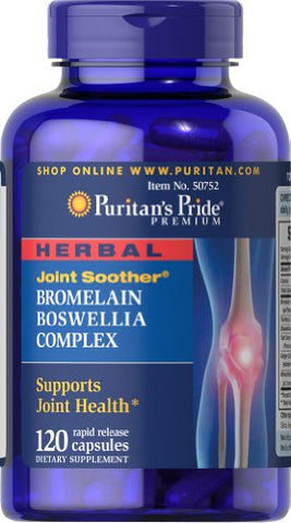 Herbal Joint Soother Bromelain Boswellia Complex with Turmeric, 120 Capsules, by Puritan's Pride