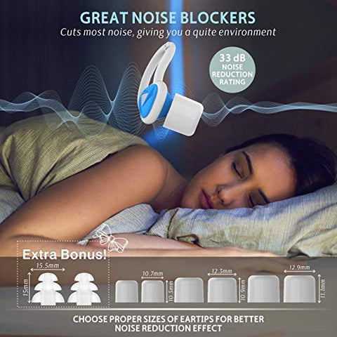 Ear Plugs for Sleeping, Wootrip SNR 33dB Noise Reduction Earplugs with Foam eartips and Silicone Bud, Ultra Comfortable Earplugs for Sleeping, Snoring, Travel, Studying, Work (Blue)