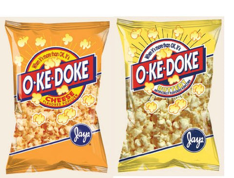 OkeDoke 8 oz. Popcorn Variety 2 Pack - Cheese & Buttery - O-Ke-Doke Jay's Snack Mix - 2 Pack Oke doke - Ok E Doke (Cheese & Buttery)
