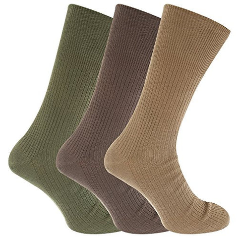 Mens Big Foot Non Elastic Diabetic Socks (3 Pairs) (US 7-12) (Shades Of Brown)