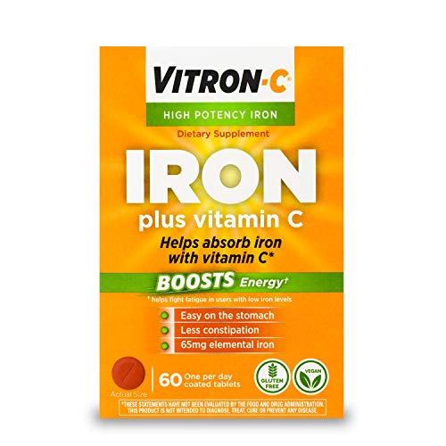 Vitron-C High Potency Iron Supplement with Vitamin C, Boosts Energy, 60 Count