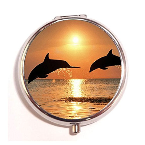 Bottlenose Dolphin Jumping design custom Unique Tone Round Pill Box Medicine Tablet Organizer or Coin Purse