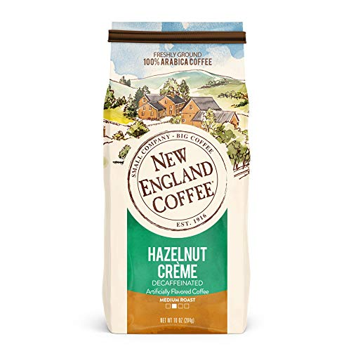 New England Coffee Hazelnut Crme Decaffeinated Medium Roast Ground Coffee 10 oz. Bag