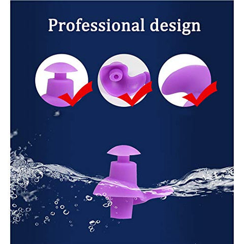 Silicone Ear Plugs Noise Cancelling Reusable for Sleeping Swimming, Waterproof Earplug Hearing Protection Sound Blocking Decible Reduction, 2 Pairs,Purple