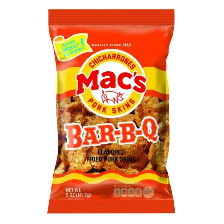 Mac's Chicharrones -Bar-B-Q Pork Rinds - Six 3oz Bags