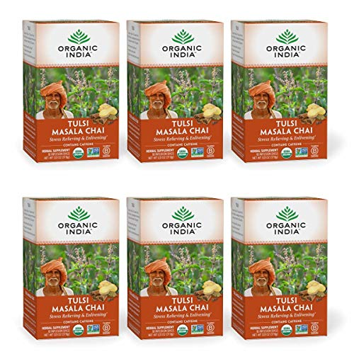 Organic India Tulsi Masala Chai Herbal Tea - Stress Relieving & Enlivening, Immune Support, Vegan, USDA Certified Organic, Black Tea, Antioxidant, Caffeinated - 18 Infusion Bags, 6 Pack