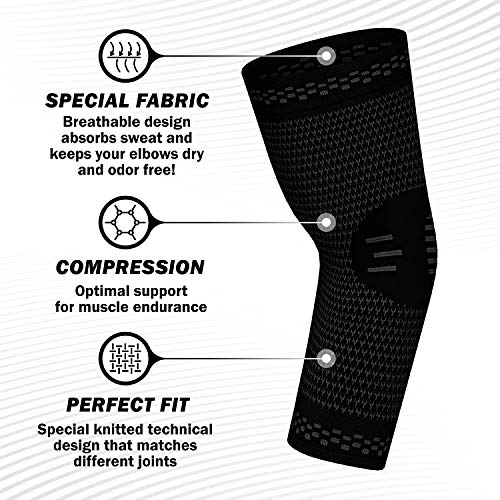 PowerLix Elbow Brace Compression Support (Pair) - Elbow Sleeve for Tendonitis, Tennis Elbow Brace and Golfers Elbow Treatment, Arthritis, Workouts, Weightlifting  Reduce Elbow Pain