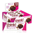 Image of think! Protein+ 150 Calorie Bars 10g Protein, 5g Sugar, No Artificial Sweeteners, Gluten GMO Free, (1098182), Chocolate Almond Brownie, 14.1 Ounce