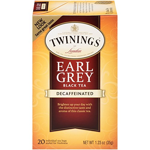 Twinings of London Decaffeinated Earl Grey Black Tea Bags, 20 Count (Pack of 6)