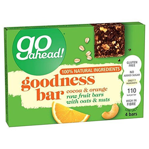 Go Ahead Goodness Bar Cocoa & Orange 4 x 30g