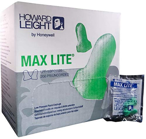 Howard Leight Max Lite Disposable Earplugs with Cord - MS92255 (1 Boxes)