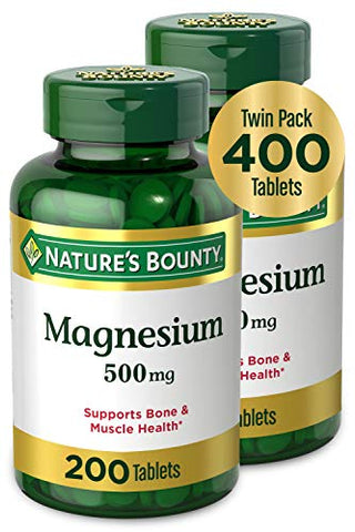 Nature's Bounty Magnesium by Nature's Bounty, 500mg Magnesium for Bone & Muscle Health, Twin Pack 400 Tablets, 400 Count