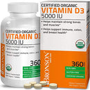 Image of Bronson Vitamin D3 5,000 IU (1 Year Supply) for Immune Support, Healthy Muscle Function & Bone Health, High Potency Organic Non-GMO Vitamin D Supplement, 360 Tablets