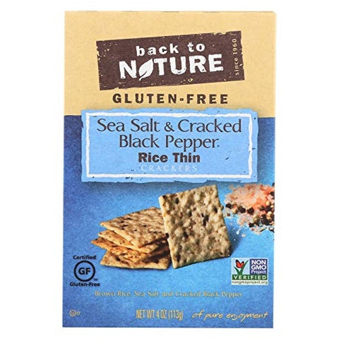 Sea Salt and Cracked Black Pepper Thin RIce Crackers 4 Ounces (Case of 12)