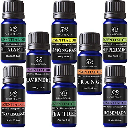 Aromatherapy Top 8 Essential Oil and Diffuser Gift Set - Peppermint, Tea Tree, Lavender & Eucalyptus - Auto Shut-Off and 7 Color LED Lights - Therapeutic Grade Oils by Radha Beauty