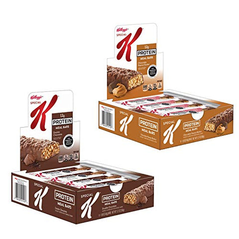 Kellogg's Special K Protein Meal Bars, Variety Pack, Double Chocolate, Chocolate Peanut Butter, Bulk Size, 32 Count (Pack of 4, 12.7 oz Boxes)