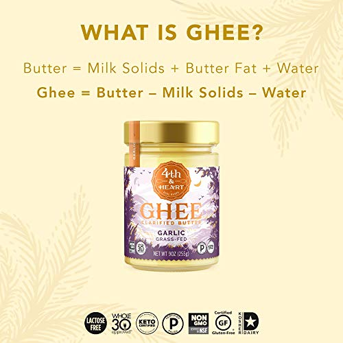 4th & Heart Grass-Fed Ghee Butter by, , Keto, Pasture Raised, Non-GMO, Lactose Free, Certified Paleo California Garlic ,9 Ounce