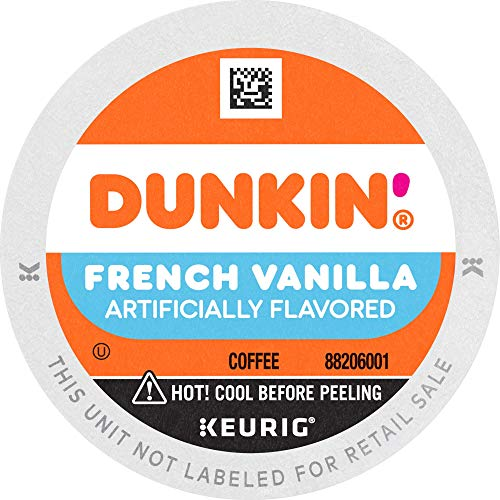 Dunkin' Donuts Coffee, French Vanilla Flavored Coffee, K Cup Pods for Keurig Coffee Makers, 60 Count