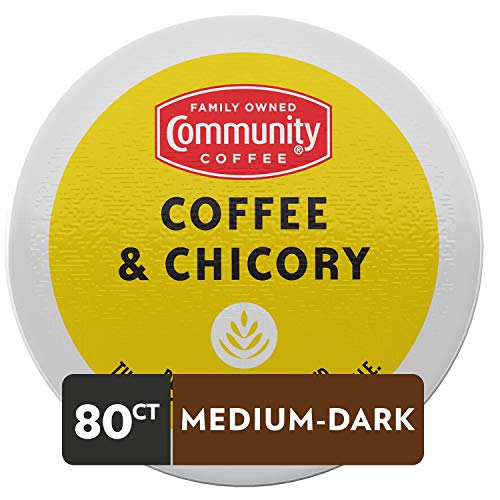 Community Coffee & Chicory Single Serve K-Cup Compatible Pods, Box of 80 Pods
