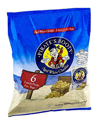Pirate's Booty Baked Rice and Corn Puffs Aged White Cheddar 6/1 OZ (Pack of 24)