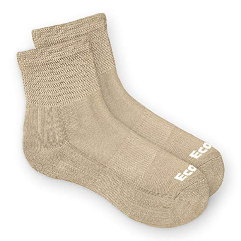 EcoSox Bamboo Viscose Diabetic/Edema/Neuropathy Non-Binding Quarter Socks for Men & Women | Super Soft, Perfect for Sensitive Skin, Keep Your Feet Dry & Blister-Free (Medium - Tan)