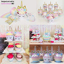 Image of Unicorn Cupcake Toppers and Wrappers Decorations (30 of Each) - Reversible Rainbow Cup Cake Liners with Unicorn Topper | Cute Decorating Supplies for Girl Birthday Party