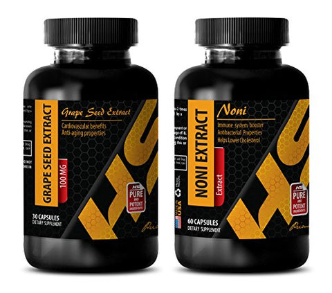 Energy Vitamins Metabolism - Grape Seed Extract - NONI Extract - noni Capsules Organic - 2 Bottles Combo (30 Capsules + 60 Capsules)
