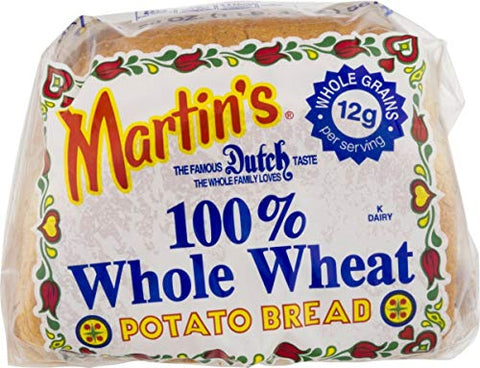 Martin's Famous Pastry 100% Whole Wheat Potato Bread- 16 Slice 20 oz. Bag (4 Bags)