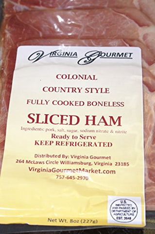 Country Ham - 8 PACK - Sliced & Cooked Virginia's Finest Virginia Country Ham- Pre-sliced Vacuum Sealed 1/2 lb. per pack. TOTAL 4 POUNDS COUNTRY Ham