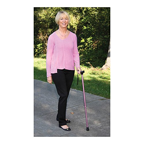 Carex Soft Grip Walking Cane - Height Adjustable Cane With Wrist Strap - Latex Free Soft Cushion Handle, Pink