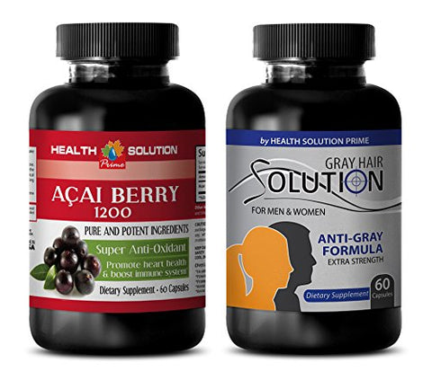 antioxidant Drops - ACAI Berry - Grey Hair Solution - Saw Palmetto and Nettle Root - 2 Bottles Combo 120 Capsules