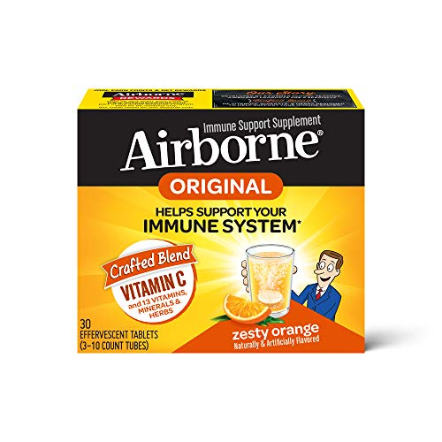 Vitamin C 1000mg (per serving) - Airborne Zesty Orange Effervescent Tablets (30 count in a box), Gluten-Free Immune Support Supplement and High in Antioxidants